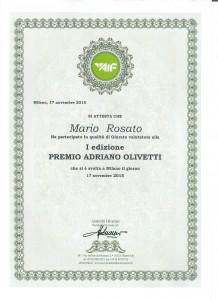 Diploma Giuria Premio Adriano Olivetti 2015